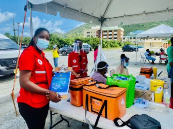 Volunteers from the BVI Red Cross on scene to render assistance. Photo: GIS