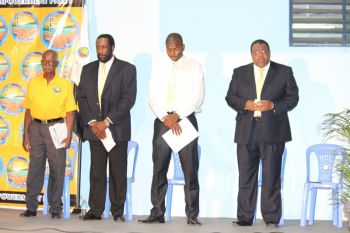 Dr Natalio D. Wheatley (2nd from right) contested the 2015 snap elections with the People's Empowerment Party (PEP) as an At Large Candidate. Photo: VINO/File