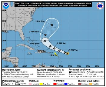 On the forecast track, the center of Jerry will move north of the northern Leeward Islands Friday, September 20, 2019. Photo: NHC