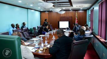 According to Premier and Minister of Finance, Honourable Andrew A. Fahie (R1), it was important for the Government to meet with Caribbean Telecommunications Union (CTU) to review these longstanding pieces of legislation as they will support the comprehensive digital transformation of the Public Service and improve e-payments for customers. Photo: GIS
