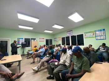 Ninth District Representative and Minister for Natural Resources, Labour and Immigration, Honourable Vincent O. Wheatley, left, on Thursday, February 6, 2020 gave his first report to his constituents since becoming the Ninth District Representative on February 25, 2019. Photo: VINO