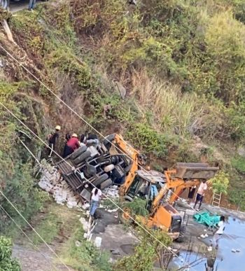 The scene of the mishap at Diamond Estate on February 27, 2021. Photo: Team of Reporters