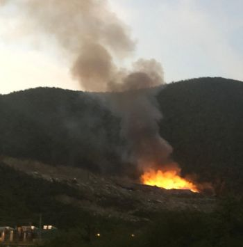 A landfill fire at Pockwood Pond, Tortola, on February 3, 2020. Photo: Team of Reporters