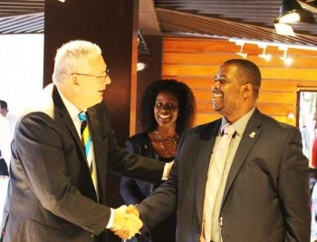 Chairman of the Caribbean Community (Caricom) and Prime Minister of St Lucia, Honourable Allen M Chastanet, left, seen here with Premier and Minister of Finance Hon Andrew A. Fahie (R1). GIS/File