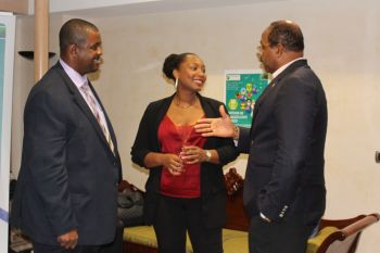 Premier Fahie talks with 4th Vice President of the Guadeloupe Regional Council, Diana Perran and Antigua and Barbuda's Prime Minister, Gaston Browne. Photo Credit: Bria Smith/GIS