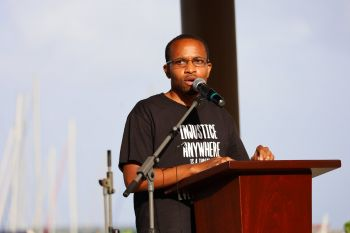 Former school teacher and entrepreneur Mr Jovan E. L. Cline used the opportunity to condemn discrimination against Caribbean expatriates and called for unity in the Virgin Islands during the Black Lives Matter march in Road Town, Tortola, on June 20, 2020. Photo: Russel Jones/Facebook