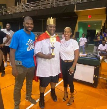 Premier and Minister of Finance Hon Andrew A. Fahie (R1) is flanked by Sports Minister Dr the Hon Natalio D. Wheatley (R7), left, and Rosemary R. Rosan-Jones crowned King of Celebrity Shootout at Multi-Purpose Sports Complex on Saturday, June 20, 2020. Photo: Facebook