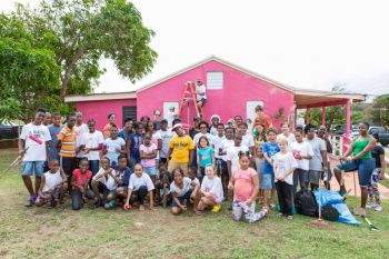 The Virgin Gorda Elderly Home was repainted last weekend through a community effort that saw a large participation of the Raw Skillz Track Club. Photo: Richardson Photography/Facebook
