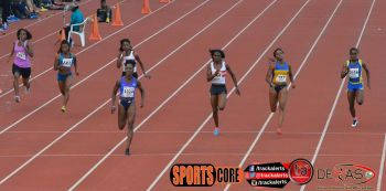 Taylor Hill (2nd left) competing in the Trinidad & Tobago National Championships. Taylor ran 11.93 for 11th place. Photo: Provided