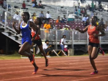 Zara A. Brown (Front) in the BVI Girls 100m U15 youth Champion in 2015. Photo: Facebook