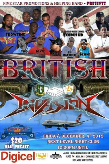 The flyer for the British Invasion Jam in Anguilla this weekend. Photo: heyevent.com