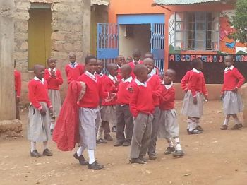 Some of the happy faces of students of the primary school constructed by the NLBC Kenya mission team. Photo: Provided