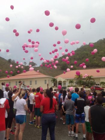 Balloons released in memory of those who have fallen to Breast Cancer in the Virgin Islands. Photo: Ishwar Persaud/Facebook