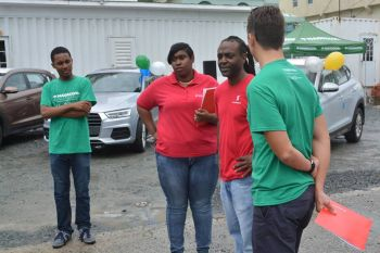 Home Finance Specialist & Auto Finance Specialist at Scotiabank BVI, Mr Olanzo A. Boynes (2nd from right) with Scotiabank and Nagico Insurances staff. Photo: Provided