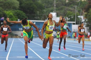 Ashley N. Kelly clocks 52:29 to nip fast starting and defending champion Kineke Alexander of St Vincent and the Grenadines at the tape in the Women's 400m. It was a national record for Kelly. Photo: BVIAA/Facebook