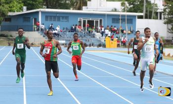Khari Herbert battles it out with an athlete from Grenada during a preliminary event. Photo: BVIAA/Facebook