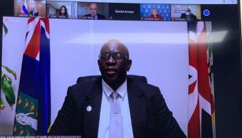 Minister for Health and Social Development, Hon Calvin Malone (AL) advocated for greater participation by Associate Member Countries in the UN Ministerial Forum. Photo: Facebook/Zoom