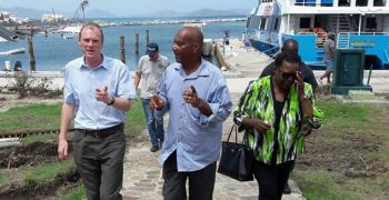Governor Jaspert in the company of Sister Islands Coordinator Mr Vincent Wheatley and then Deptuty Governor Rosalie Adams on a visit to Virgin Gorda post Hurricane Irma 2017. Photo: VINO/File