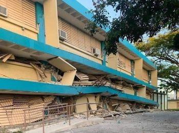 A school damaged by an earthquake in Puerto Rico on January 7, 2020. Photo: Facebook