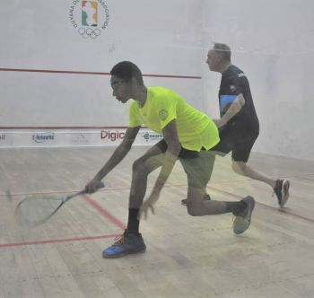 Virgin Islands' Tony Campbell, right, lost to Caribbean Under-15 Champion Shomari Wiltshire of Guyana 1-11, 1-11, 2-11 at the Caribbean Area Squash Association (CASA) Senior Championships in Guyana on August 21, 2019. Photo: Kaieteur Sport