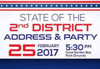 The flyer for the State of the 2nd District Address and Party at Cane Garden Bay hosted by Third District Representative Hon Melvin M. Turnbull. Photo: Facebook