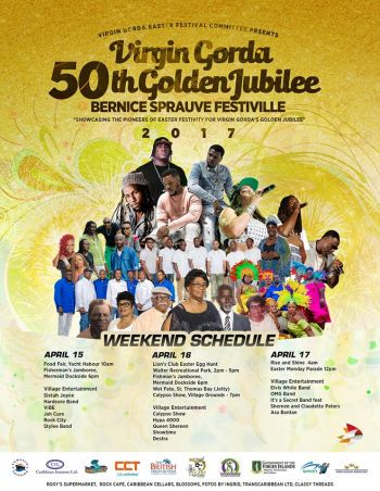The weekend schedule for the Virgin Gorda Easter Festival Committee's Golden Jubilee. Photo: Facebook