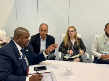 Photo of Premier and Minister of Finance, Honourable Andrew A. Fahie chaired meetings with major cruise lines at the Seatrade Global event in Miami. Photo: GIS