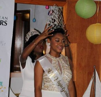 Alondra C. Ephraim is crowned the 2017 Miss Virgin Gorda Easter Festival at Norma's Lounge at Fischer's Cove in Spanish Town, Virgin Gorda, on Wednesday April 12, 2017. Photo: VINO