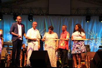 From left: Minister for Education Hon Myron V. Walwyn, Premier Dr The Hon D. Orlando Smith, Mrs Bernice Sprauve, Ninth District Representative Hon Hubert O'Neal and Chairperson of the Virgin Gorda Easter Festival Sasha D. A. Flax at the opeing of the Bernice Sprauve Festiville in Virgin Gorda last evening, April 15, 2017. Photo: VINO