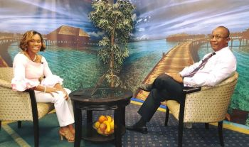 Mr Claude O. Skelton Cline (right) on the set of Vigilate Dialogues with host Shaina M. Smith. Photo: Facebook