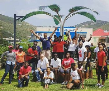 Non-profit organisations Green VI and the Rotaract Club of Tortola teamed up with the Wickhams Cay Development Authority, Creque's Engineering Services, ATEC BVI, Rotary Club of Tortola, Abbi E. Christopher and Perception BVI for the Region's first solar tree! Photo: Facebook