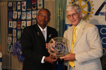 Dr. Robin Tattersall (right) was one of three founder members present at the Rotary Club of Tortola's 45th Anniversary Celebration at Maria's by the Sea on Saturday January 5, 2013. Photo: VINO