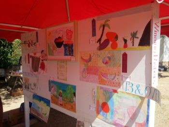 There were displays of agriculture-themed drawings done by schoolchildren of Virgin Gorda yesterday February 13, 2014. Photo: VINO.
