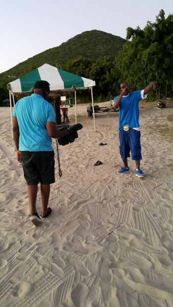 During yesterday's video shoot on the beach in Spanish Town, Virgin Gorda. Photo: VINO