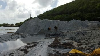 Some of the sand that has been offloaded on to the beach. Photo: VINO