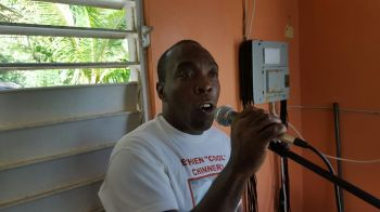 Jost van Dyke resident Gerald A. Chinnery speaking at the meeting. Photo: VINO
