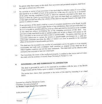 Another part of the agreement between the BVIPA and IDEA Inc. Photo: Provided