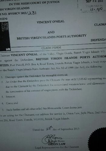 The claim form filed by the attorney for Vincent V. O'Neal back in 2013. Photo: VINO