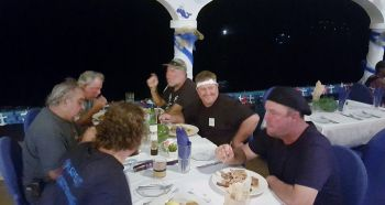 Some of the boat crew having dinner at the award presentation. Photo: VINO
