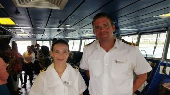 Navigating Officer Lt Lucy Robus and Commanding Officer Lt Cdr Richard Hewitt. Photo: VINO