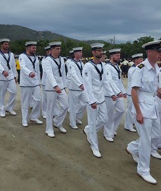 The crew of the HMS Mersey marched alongside the Royal Virgin Islands Police Force during the Queen's 90th birthday celebrations in Thursday April 21, 2016. Photo: VINO