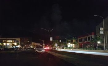 Waterfront Drive on Tortola was not in total darkness this evening due to some businesses having their own generators. Photo: VINO