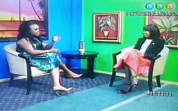 Mrs Lorna G. Smith OBE (right), the wife of Premier Dr The Honourable D. Orlando Smith appeared as a guest on the Real Talk programme with Mrs Karia J. Christopher (left) on January 3, 2017. Photo: Provided