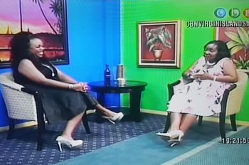 Host of Real Talk Karia J. Christopher (left) having a light moment with Mrs Kharid T. Fraser on Real Talk, which was aired on January 10, 2017. Photo: CBN