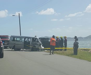 Police and firemen at the scene of the accident involving a taxi minibus and an SUV at Slaney today, January 15, 2017. Photo: VINO