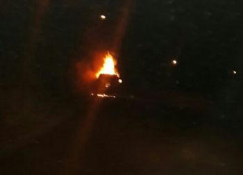 The vehicle in fire last night, February 12, 2917 at Pockwood Pond. Photo: Team of Reporters