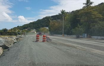 Currently, there is road work all day between the Peebles Hospital in Road Town and Slaney on the main island of Tortola, as the Ministry of Communications and Works continues the much needed installation of sewer pipes. Photo: VINO