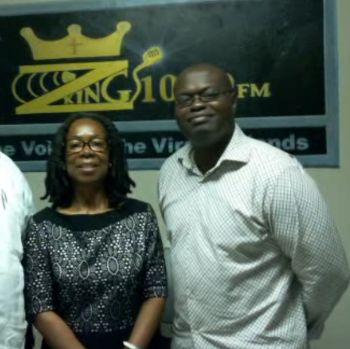 Businessman Mr Julian Willock (right) with co-host of the Health, Sickness & Restoration Show, Mrs Sandra V. Phillip-Hodge, on 100.9 FM ZKING Radio. Photo: Team of Reporters