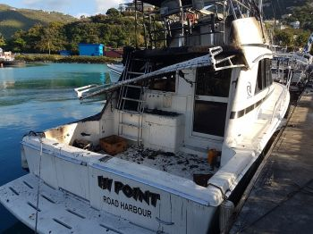 One of the boats destroyed by fire at Baughers Bay on April 4, 2017. Photo: VINO
