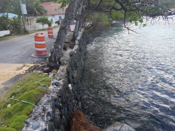 This area of the Cane Garden Bay shoreline will also be reinforced as part of the ongoing revetment project. Photo: VINO